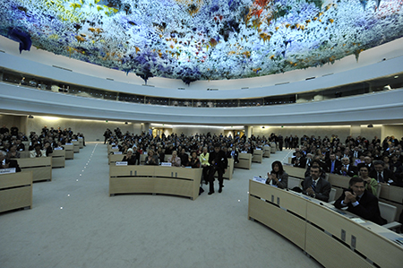 A large group seated at the UN.